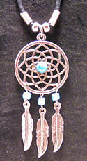 3 Feathers Turquoise Dreamcatcher Necklace