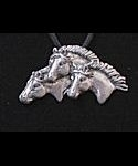 3 horses pewter pendant with black cord