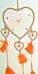 Tan Four Heart Dreamcatcher