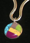 #610 - Round Inlaid Stone Pendant