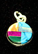 #612 Mini Round Inlaid Stone Pendant