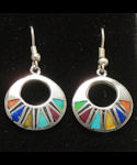 Multicolor Round Inlaid Stone Earrings