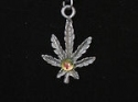 Palm Leaf Pendant with center crystal