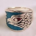 Eagle Band Silver Biker Ring