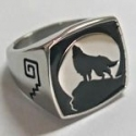 Stainless Steel Howling Wolf Ring