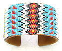 Beaded Feather seed beaded cuff Bracelet