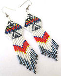 Red and Black Thunderbird Seed Bead Dangle Earrings