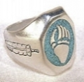Turquoise bear paw with feather ring