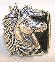 Black enamel Horse Head with flowing mane ring.