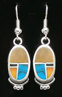 4 Stone Oval Shaped Mosaic Earrings
