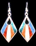 Diamond Mosaic Inlaid Stone Earrings