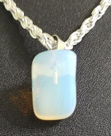 White Opal Pendant with Chain or Leather Cord