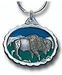 ameled Bison Key Chain, Side View