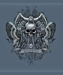 Voodoo Magic Skull Cross Shield T-shirt