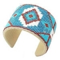 Turquoise blue,white and brown medicine man's seed bead cuff bracelet