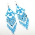 Skyblue,white and black seed bead thunderbird design earrings