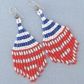 Red,white and blue seed bead dangle earrings