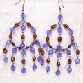 Royal purple and ruby, glass beaded chandelier fashion earrings