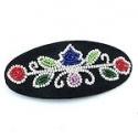 VINTAGE black floral design beaded barrette