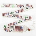 American flag seed bead lanyard/ID holder