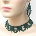 Emerald green egyptian seed bead bib necklace and earrings set