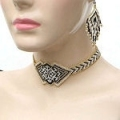 Gold,black and white geometric design seed bead choker and earrings set