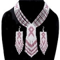 Pink ribbon cancer awareness seed bead necklace and earrings set