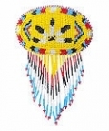 Sunny yellow, turquoise blue, red, black and white, seed beaded, native eagle feather design barette