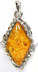 Amber and Cubic Zirconia Silver Diamond Shaped Pendant