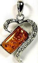 Dark Amber and CUBIC ZIRCONIA Heart Pendant