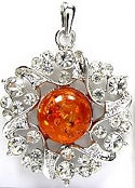 Amber and Cubic Zirconia Pendant 2