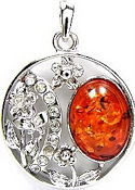Amber and Cubic Zirconia Pendant 3