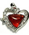 Amber and Cubic Zirconia Heart Pendant #1992