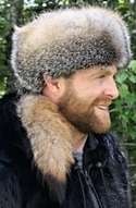 American Grey Fox Fur Hat with Tail