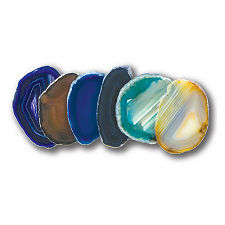 "Assorted Colors Agate Slices, 1.25"" to 2"""