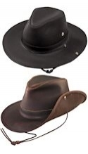 Aussie Dakota Leather Hat with Snap Up Side
