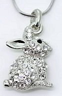 Crystal Studded Rabbit Necklace