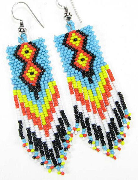 Native American Beaded Earring Designs http://www.nativecrafts.us/beaded-native-american-design-seed-beaded-dangle-earrings-p-1488.html