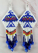 Beaded Eagle Red White Blue Earrings - <font color=red>ONLY 1 LEFT!</font>