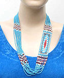 Beaded Eye of God sead beaded layered necklace