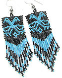 Beaded Thunderbird hand seed beaded earrings