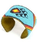 Bear Paw Wide Beaded Cuff Bracelet