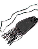 "3""x3.75"" Medium Fringed Black Buckskin Medicine Bag with Neck St"