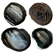 Black Agate Slices, 2 inches