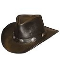 Black Walker Raging Bull Leather Hat with Concho Hatband