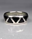 Black Onyx Inlay Wedding Band