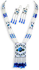 Blue Cherokee Rose Beaded Necklace & Earrings Set