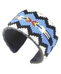 Beaded Blue Feather Wide Cuff Bracelet