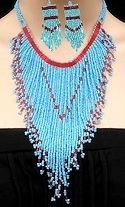 Turquoise beaded arrow necklace and earrings set