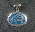 Blue Zuni bear medallion PENDANT
